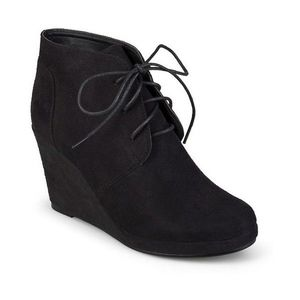 Shoes - NEW! Black Suede Lace-up Wedge Booties Size 8